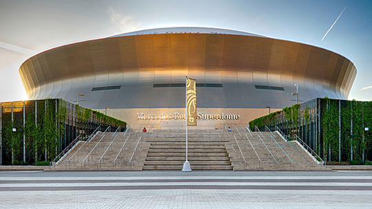 Present day photo of the Superdome (now known as the Mercedes-Benz Superdome)