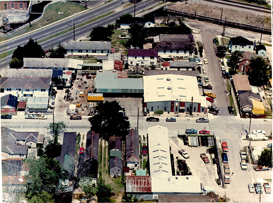 1970s Gallo Mechanical warehouse and office aerial view